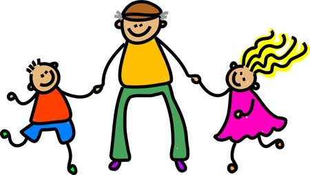 oap: little children going out with grandad - toddler art series