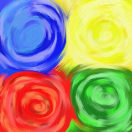 blue green background: blue, yellow, red and green swirl paint textured background design Stock Photo