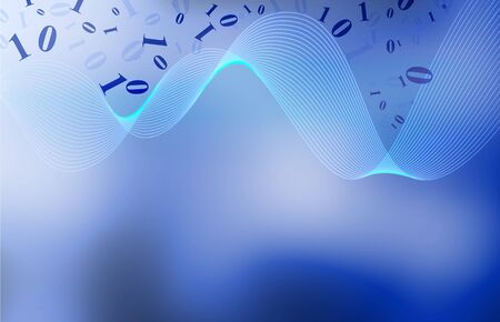 smooth uncluttered and elegant blue background design with swirly mesh and binary numbers and room for text