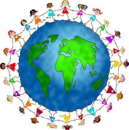 holding globe: felice e diversificato gruppo di bambine per mano in unit� di tutto il mondo