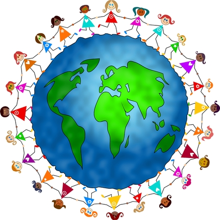 happy and diverse group of little girls holding hands in unity around the world Stock Photo - 1479071