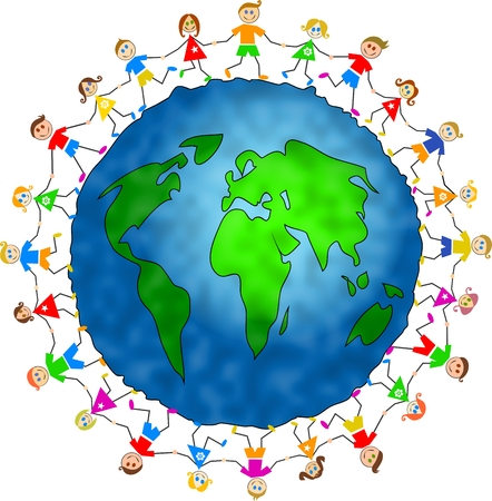 hands holding globe: caucasian version of happy group of children holding hands around the world