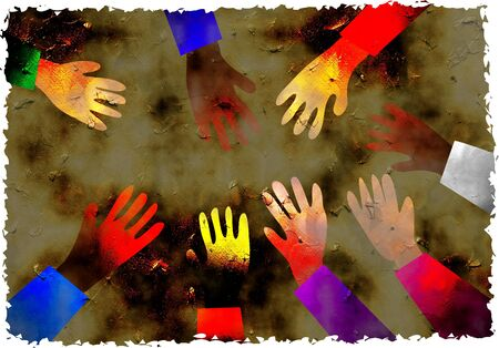 dirt stained grunge textured parchment background design with diverse group of hands photo