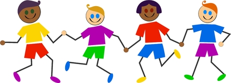 group of happy mixed race kids holding hands - kids life series Stock Photo - 1558160