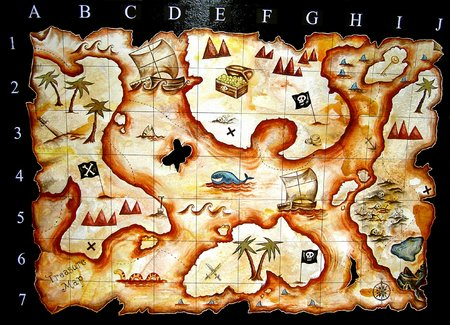 board games: hand painted treasure map i designed for kids play group Stock Photo