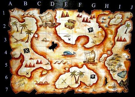 mapa del tesoro: pintados a mano mapa del tesoro i dise�ado para ni�os jueguen grupo  Foto de archivo