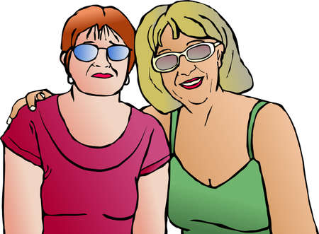 middle aged: middle aged lady friends - pop art series
