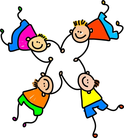 joined hands: group of four happy caucasian boys holding hands - toddler art series Stock Photo