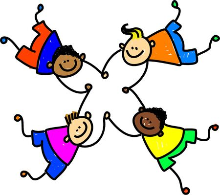 mixed race children: group of four happy mixed race boys holding hands - toddler art series