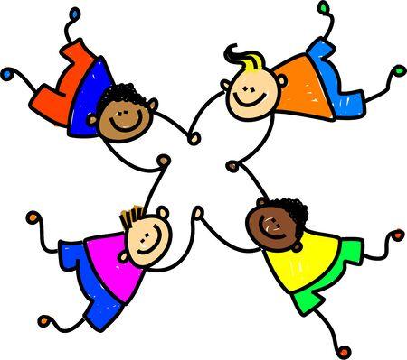 mixed race: grupo de cuatro ni�os felices mestizos mano - ni�o arte serie Foto de archivo