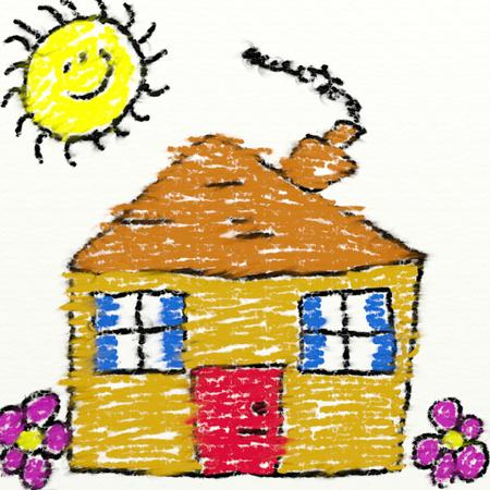 child's: childs style drawing of a house in chalk with smudging isolated on white textured canvas