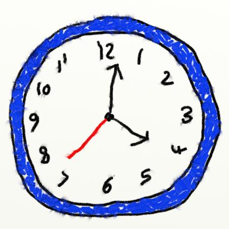 analogue: childs style smudgy chalk drawing of a analogue clock isolated on textured canvas background Stock Photo