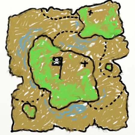 smudgy: childs style smudgy chalk treasure map drawing isolated on textured canvas background