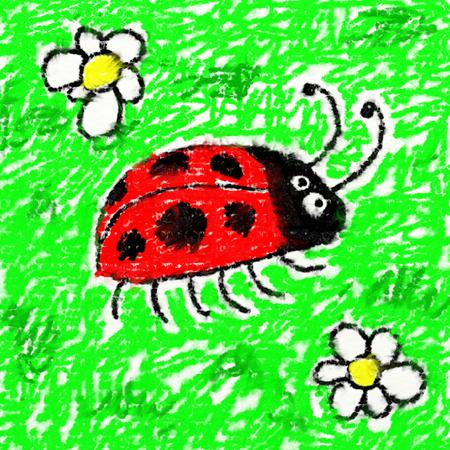 smudgy: childs style smudgy chalk drawing of a ladybug on textured canvas