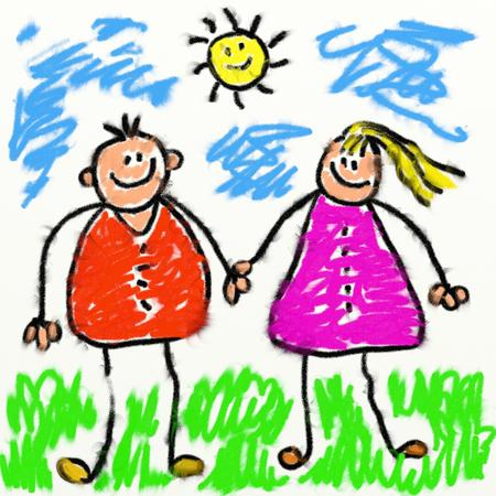 child's: childs style smudgy chalk drawing of happy parents holding hands drawn on textured canvas  Stock Photo
