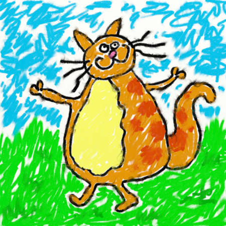 smudgy: childs style smudgy chalk drawing of a cat on textured canvas Stock Photo