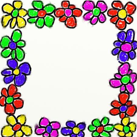 enclosing: bambini stile gesso macchiate di un disegno floreale isolato sul confine testurizzati tela di fondo
