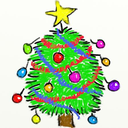 smudgy: childs style smudgy chalk drawing of a Christmas tree isolated on textured canvas background