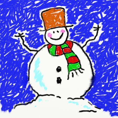 smudgy: childs style smudgy chalk drawing of a cute happy snowman on textured canvas background