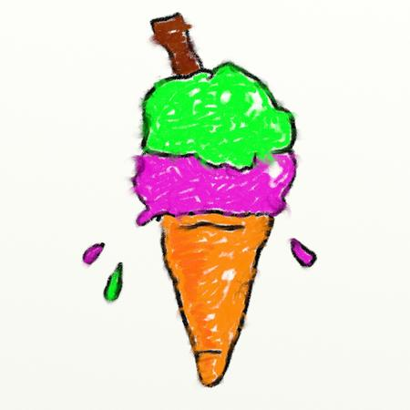 smudgy: childs style smudgy chalk drawing of an ice cream cone isolated on white textured canvas background Stock Photo