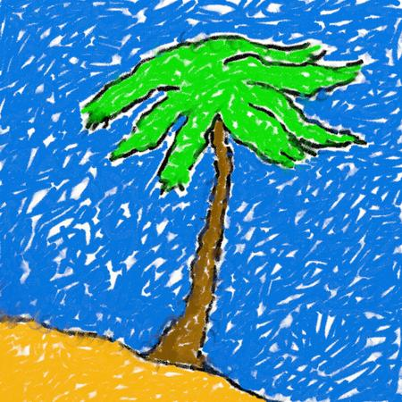 smudgy: childs style smudgy chalk drawing of a palm tree tropical island