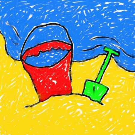 childs style smudgy chalk drawing of a kids bucket and spade on the beach photo