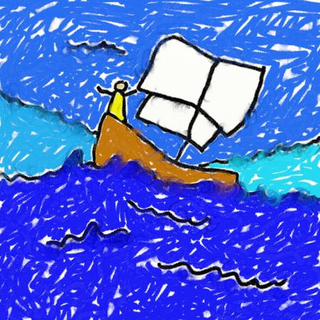 smudgy: childs style smudgy chalk drawing of a man sailing on a boat on a rough sea