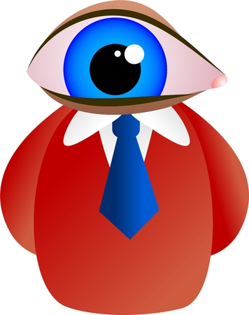 man with a giant blue eye for a face - icon people series Stock Photo - 1692713