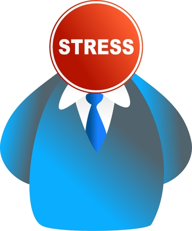 hardworker: business man stress sign face - icon people series Stock Photo