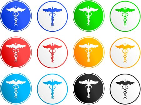 medical emblem: collection of caduceus sign icons isolated on white