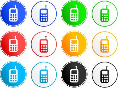 collection of mobile phone sign icons isolated on white photo