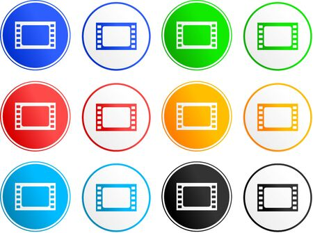 collection of film sign icons isolated on white photo
