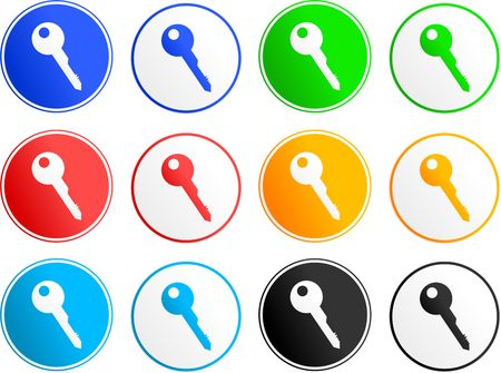 collection of key sign icons isolated on white photo