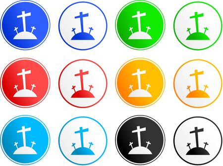 collection of easter calvary cross sign icons isolated on white Stock Photo - 1754861