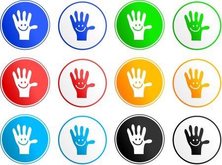 handy: collection of handy hand sign icons isolated on white
