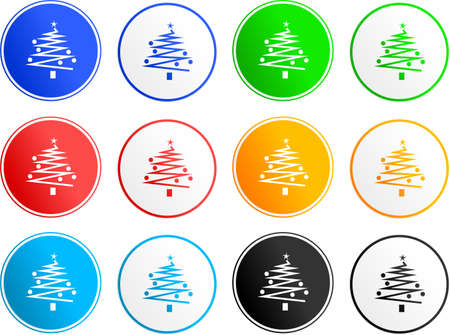 collection of Christmas tree sign icons isolated on white Stock Photo - 1787806