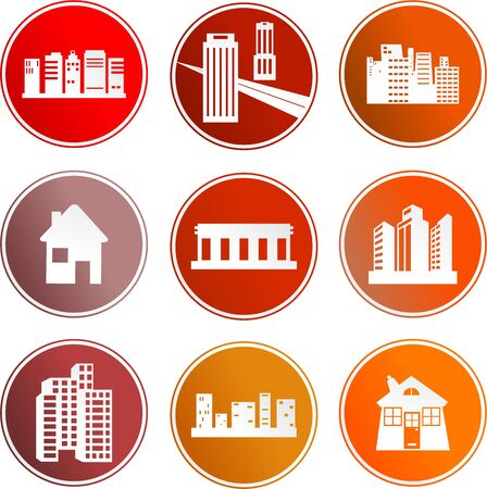 collection of architectural sign icons isolated on white photo