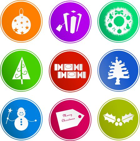 merrychristmas: collection of diverse Christmas sign icons isolated on white