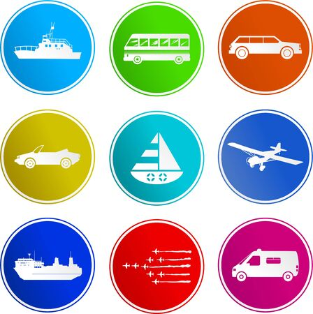collection of transport sign icons isolated on white photo