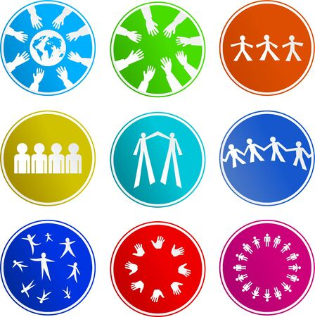 collection of teamwork sign icons isolated on white photo