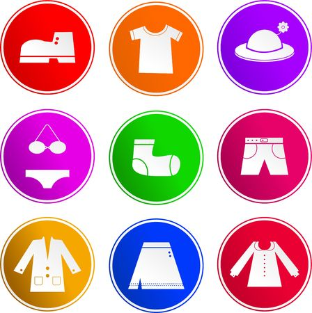 collection of clothing and apparel sign icons isolated on white photo