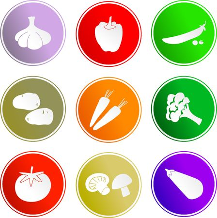food logo: collection of vegetable sign icons isolated on white