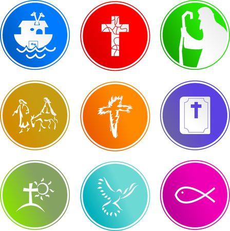 pez cristiano: colecci�n de iconos cristianos de la muestra aislados en blanco Foto de archivo