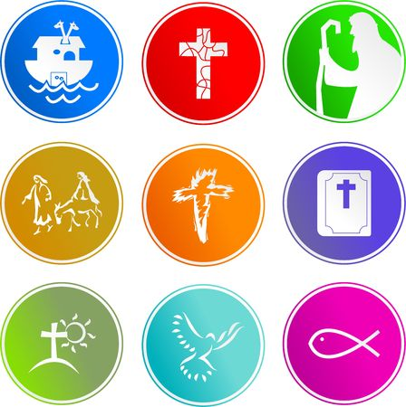 collection of Christian sign icons isolated on white