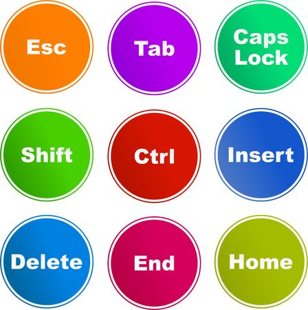esc: collection of messages you find on a keyboard isolated on white