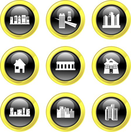 set of architectural black glass icons isolated on white photo