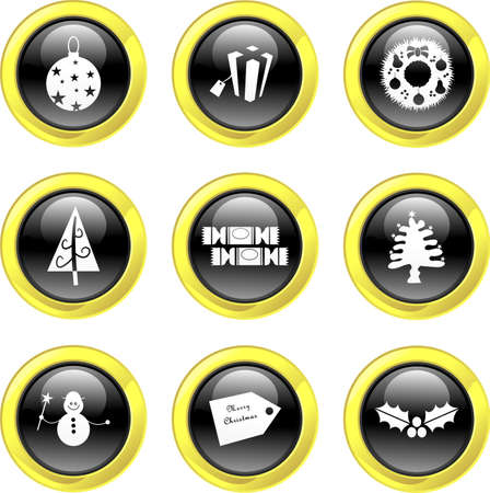 set of Christmas icons on black glossy buttons with golden rim isolated on white photo