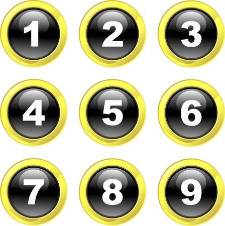 round glasses: conjunto de iconos n�mero de botones de cristal negro brillante aisladas en blanco