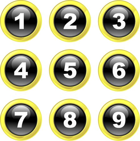 number button: set of number icons on black glossy glass buttons isolated on white Stock Photo