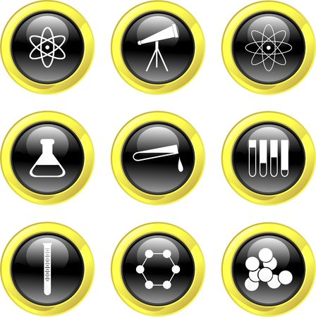 set of science icons on black glossy buttons isolated on white Stock Photo - 1961477